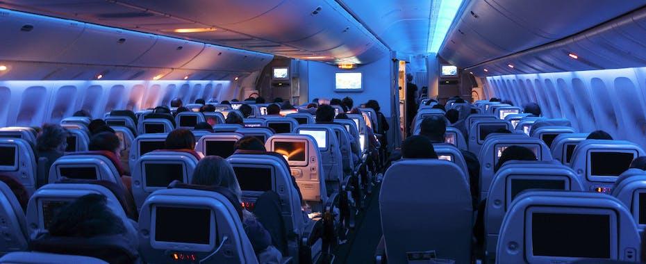 Cabin interior of full flight