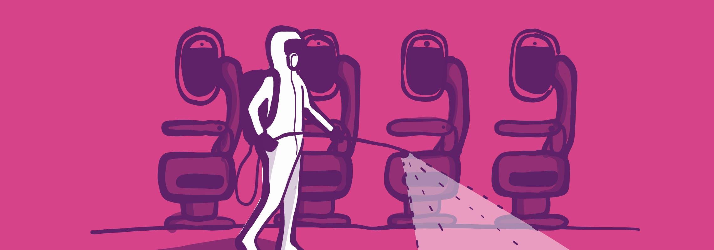 Illustration: disinfecting airplane in hazmat suit