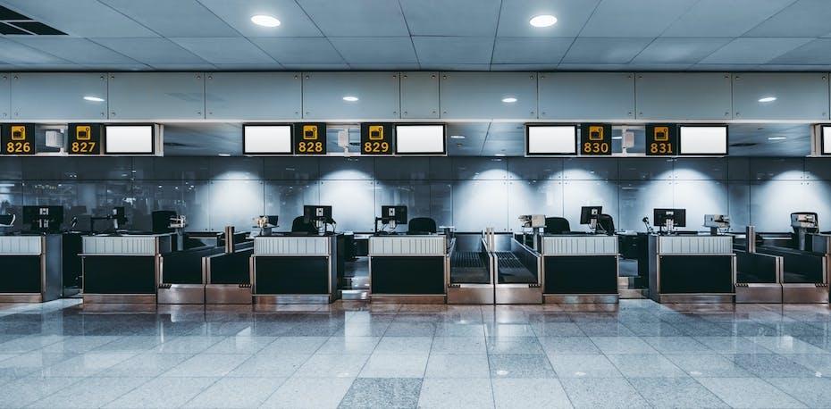 Empty airport check in desks