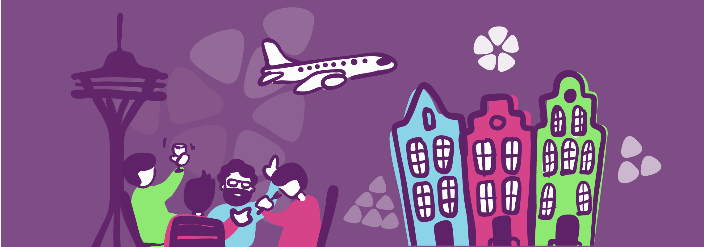 Illustration of airplane over city