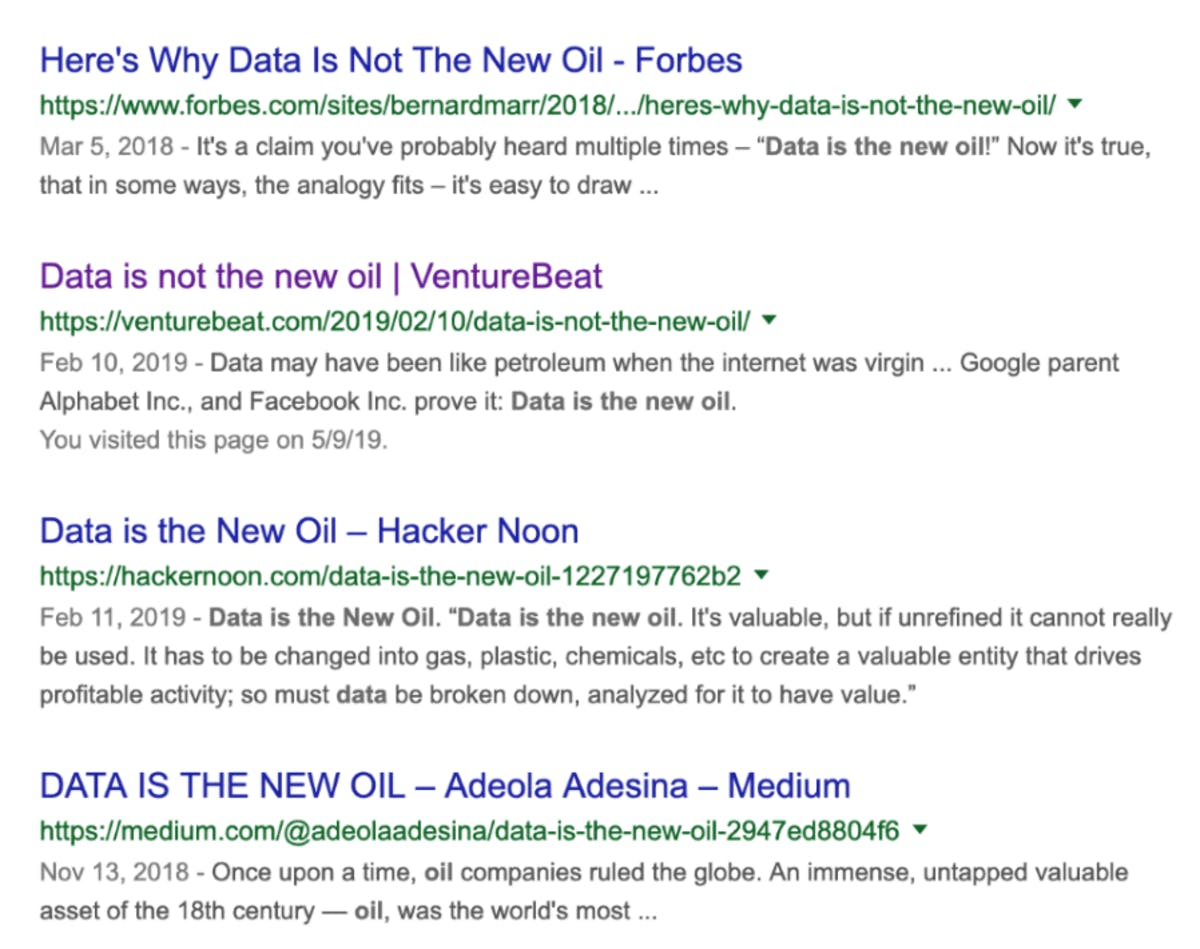 "Results from the search term ""Data is the new oil""."