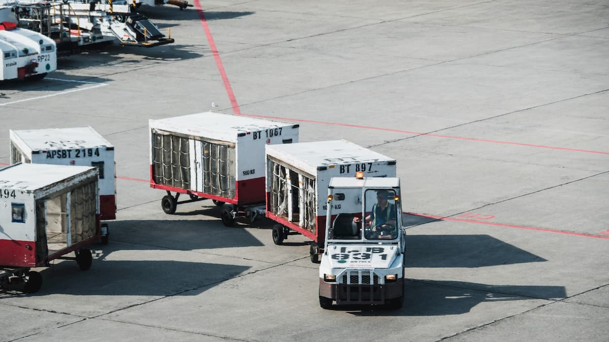 Airfract baggage on an airport runway from ancillary sales