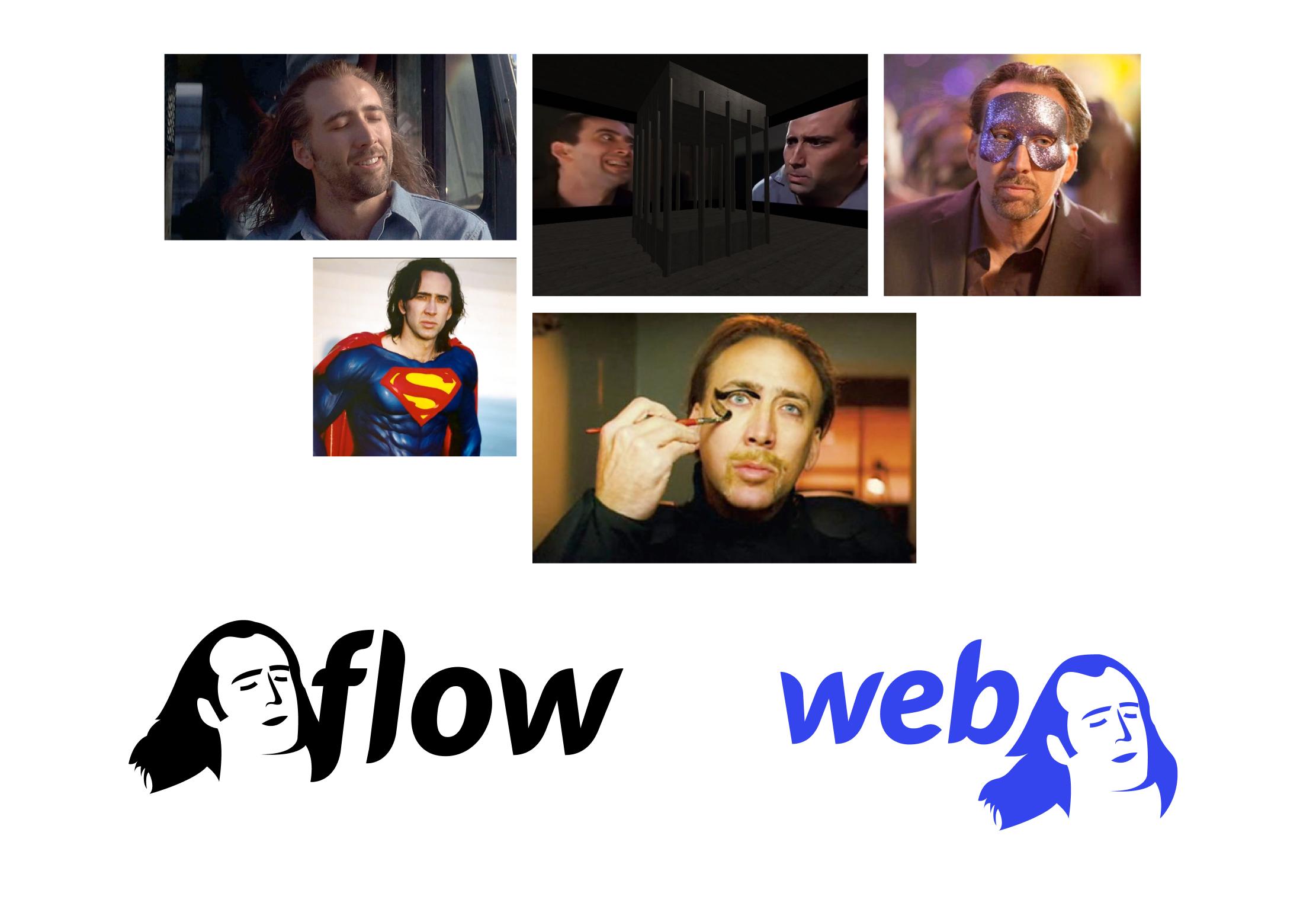 Nic Cage + Webflow logo