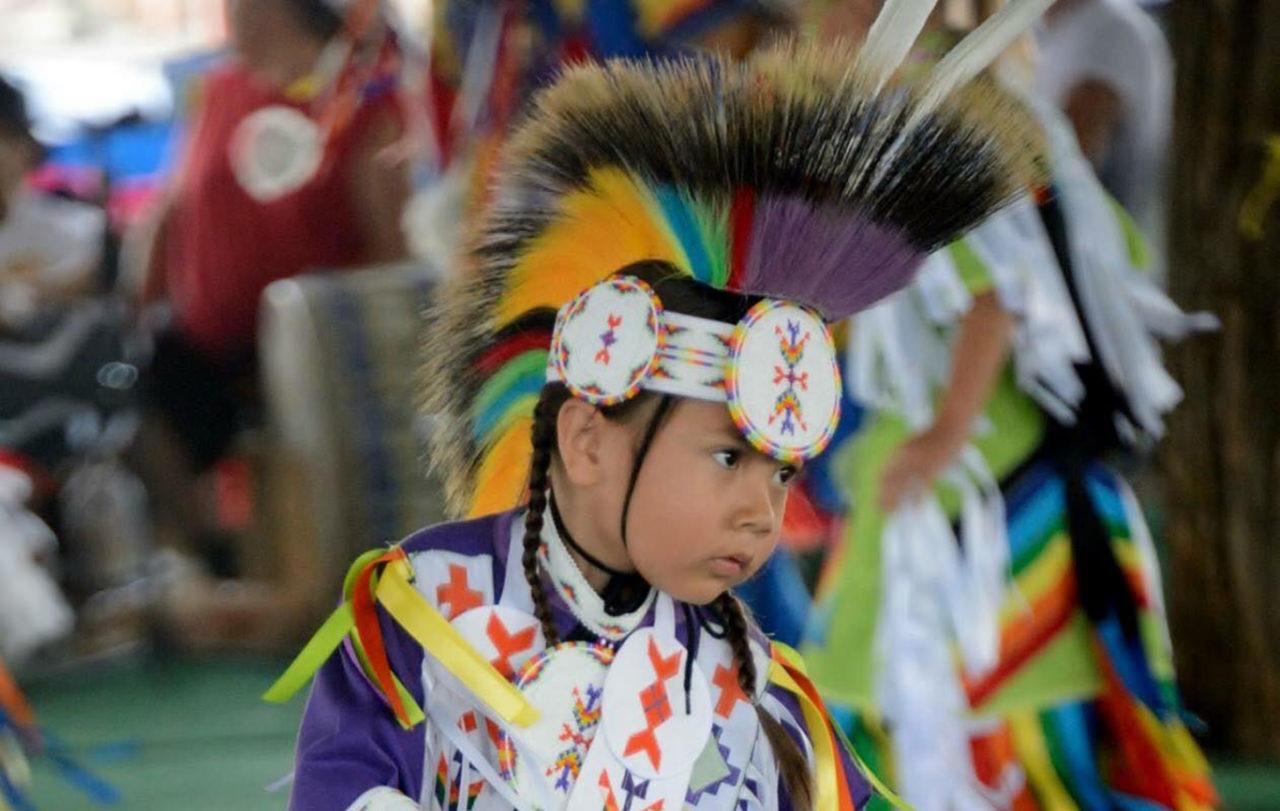 Assiniboine Tribal member Zak Hoops dancing at the Milk River Indian Days
