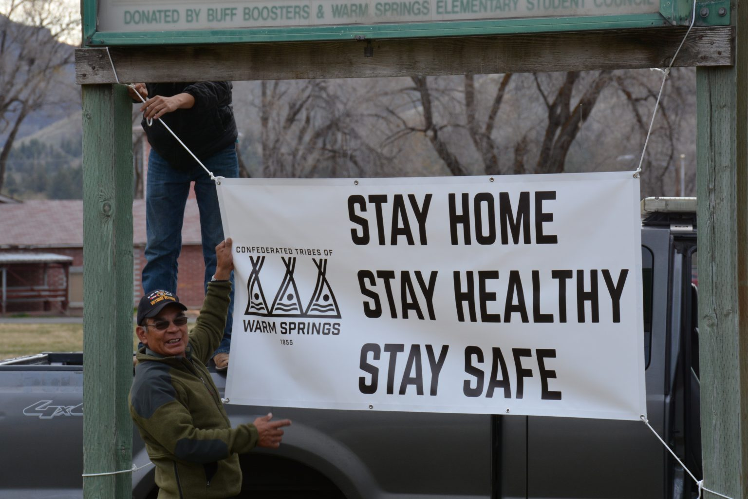 Warm Springs Reservation stay home sign