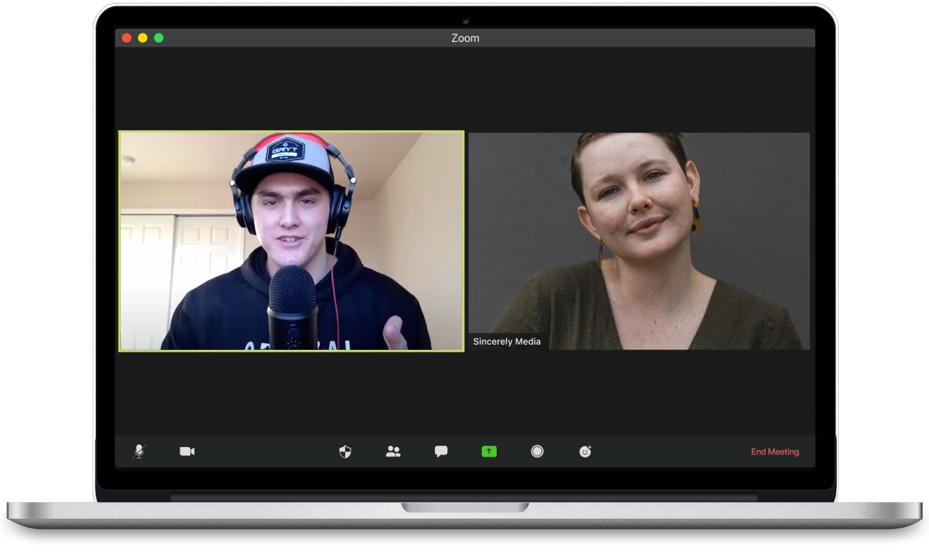 Michael on Zoom call with Fitr Media client