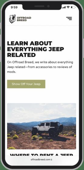 Web design mockup of Jeep content website