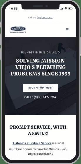 Web design mockup of local plumbing website