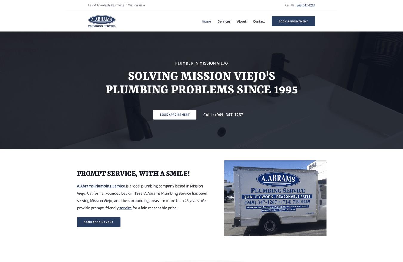 AAbrams Plumbing website screenshot