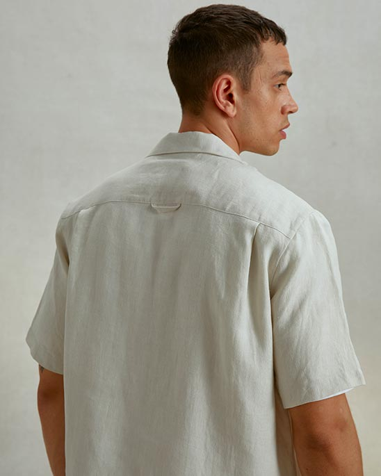 Riley Studio — Linen camp collar shirt