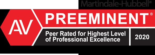 AV Preeminent Rating 2020 - Highest Level of Professional Excellence