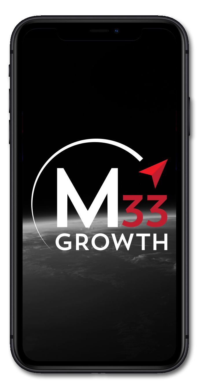 M33 Growth logo phone mockup