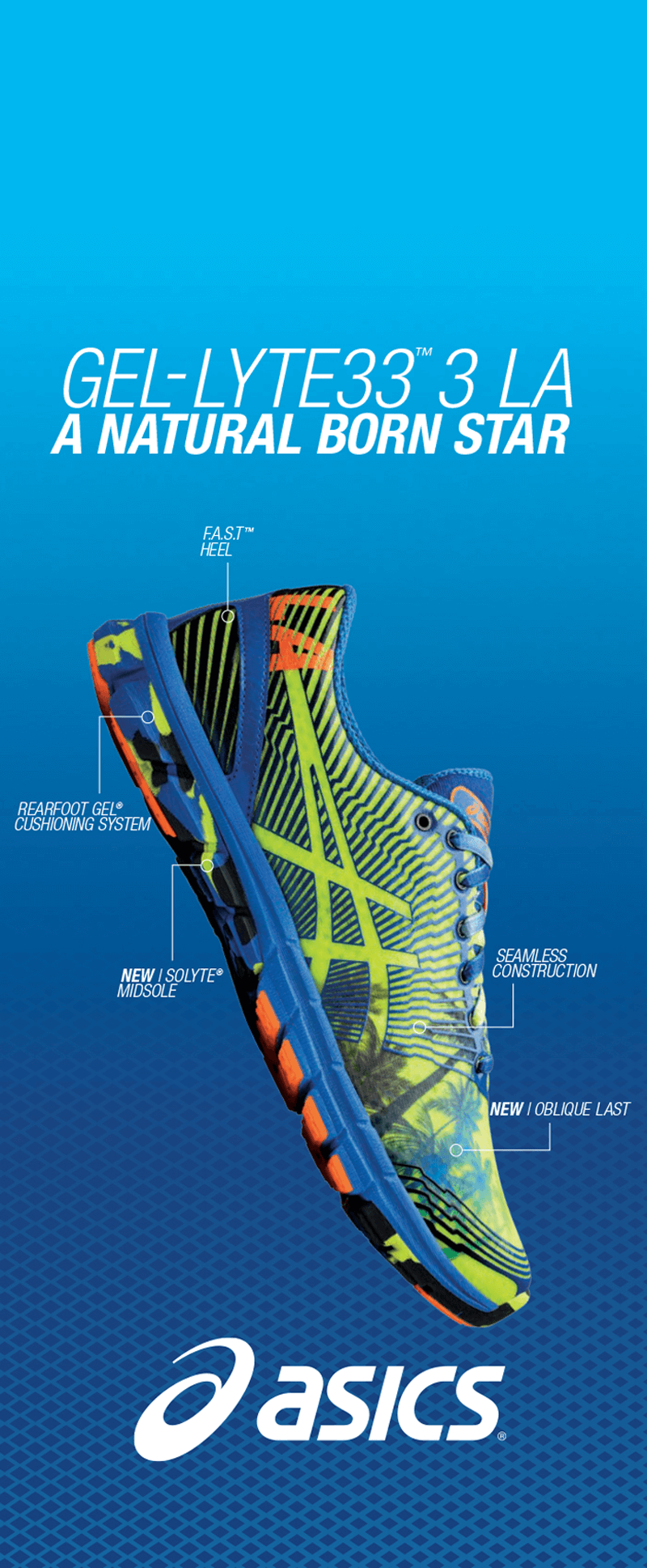 ASICS poster featuring a shoe