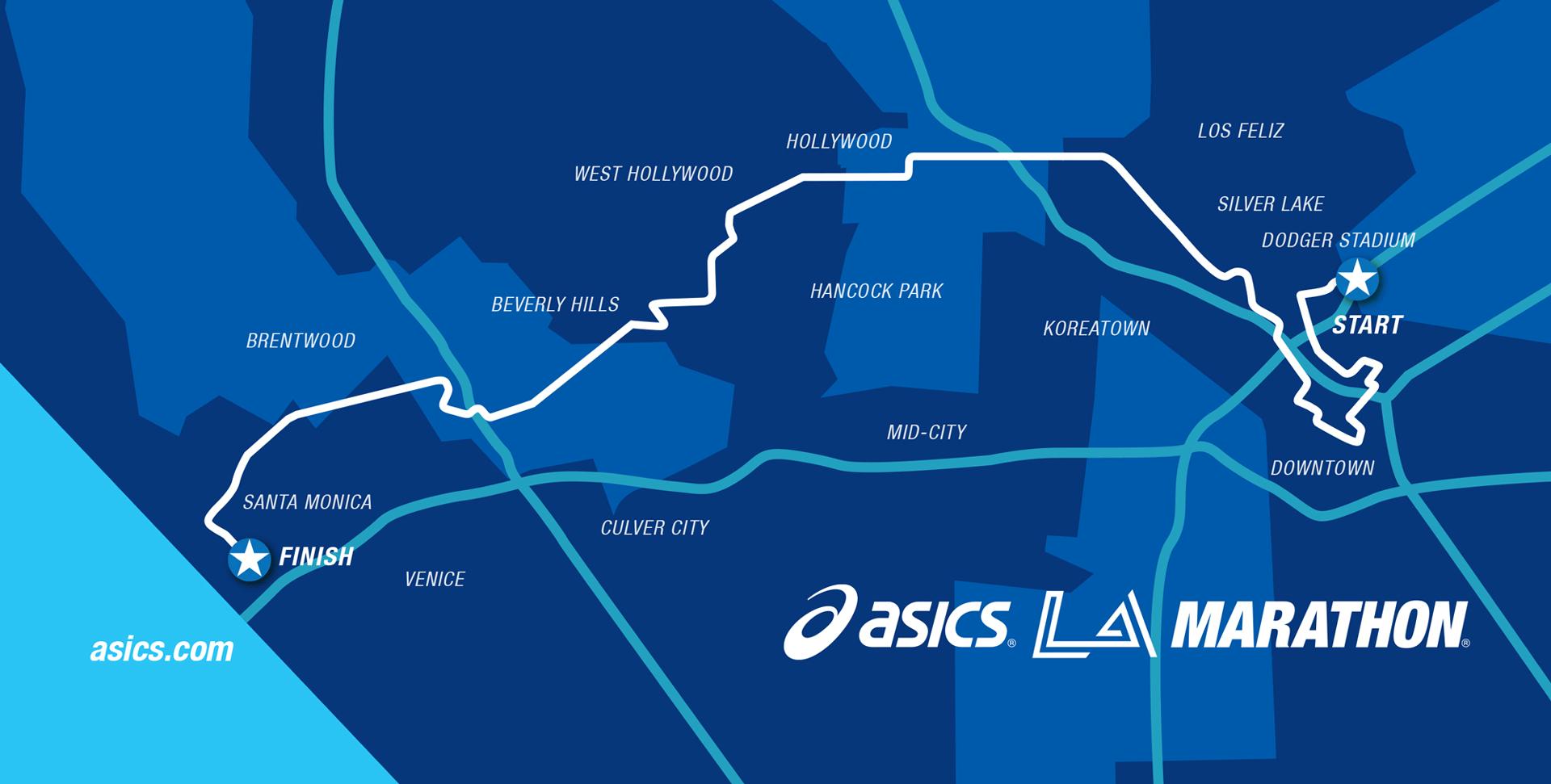 ASICS map for LA Marathon course