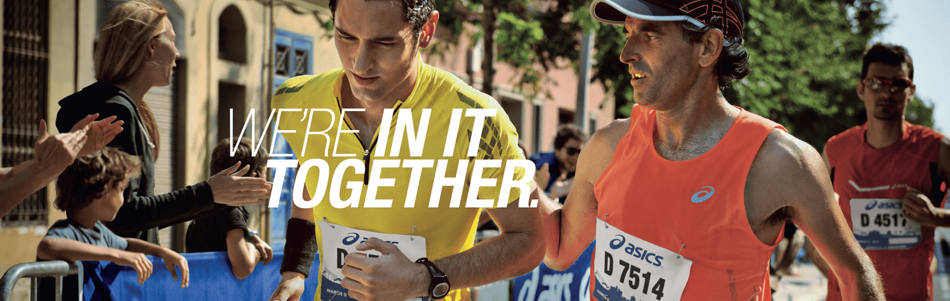 ASICS banner featuring two male runners
