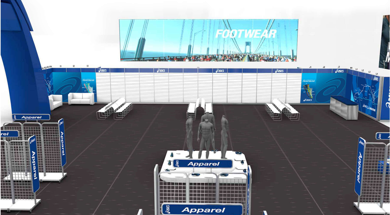 ASICS image of brand booth inside mockup