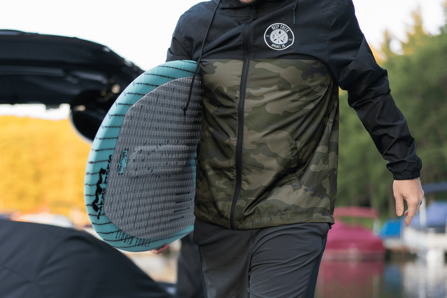 Deep Creek Apparel brand image with wakeboard