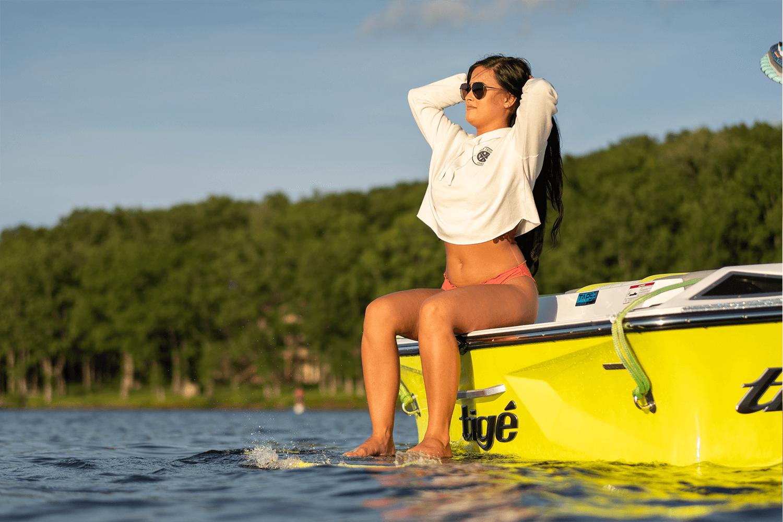 Deep Creek Apparel brand image on boat