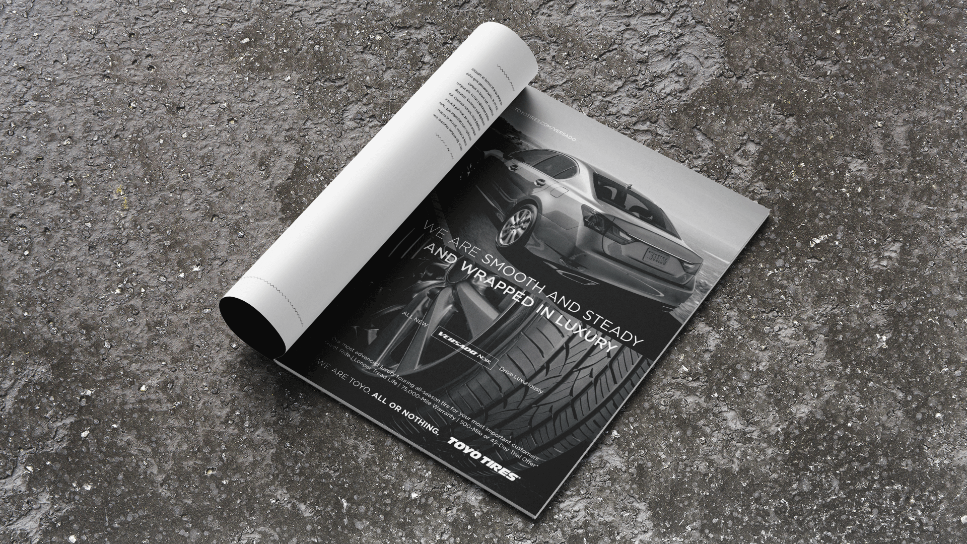 Toyo Tires rock print ad