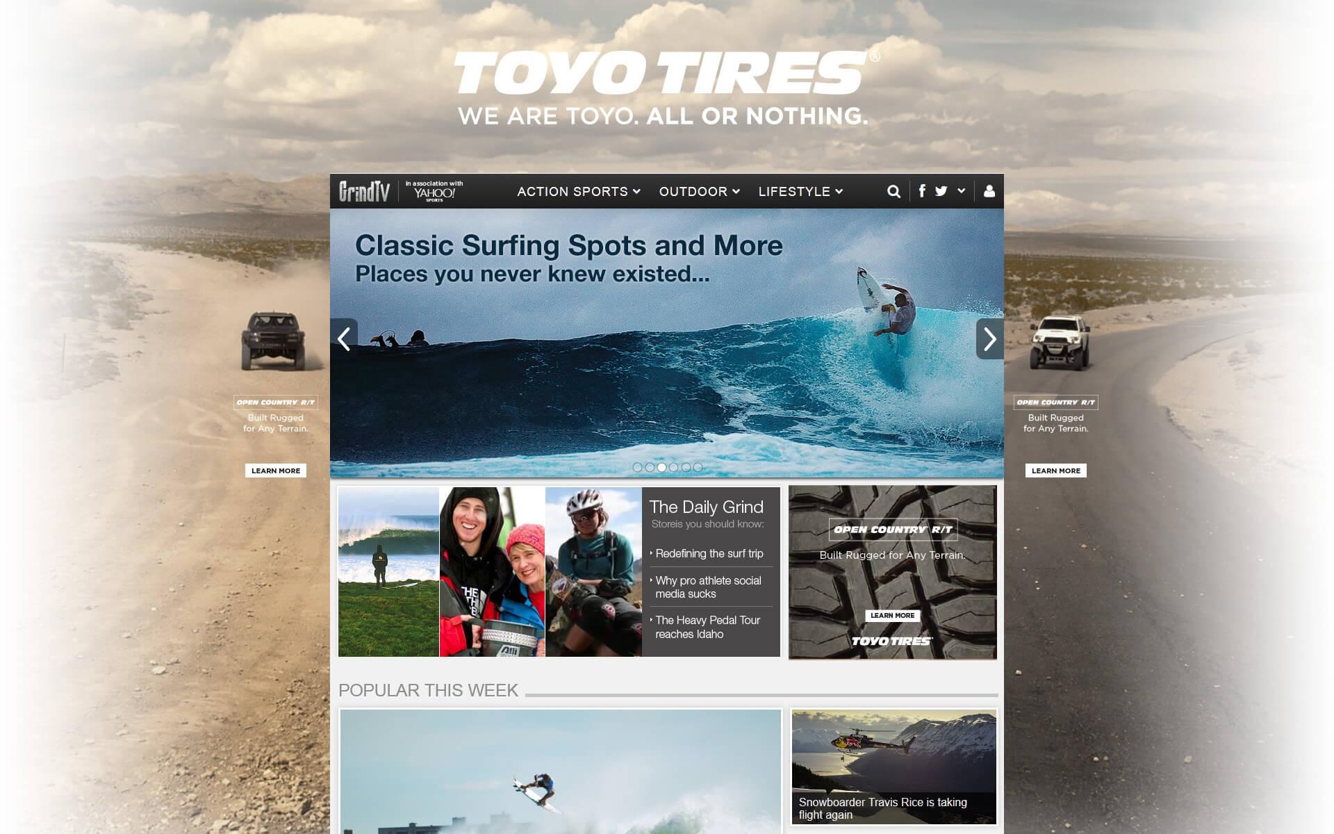 Toyo Tires site skin digital ad