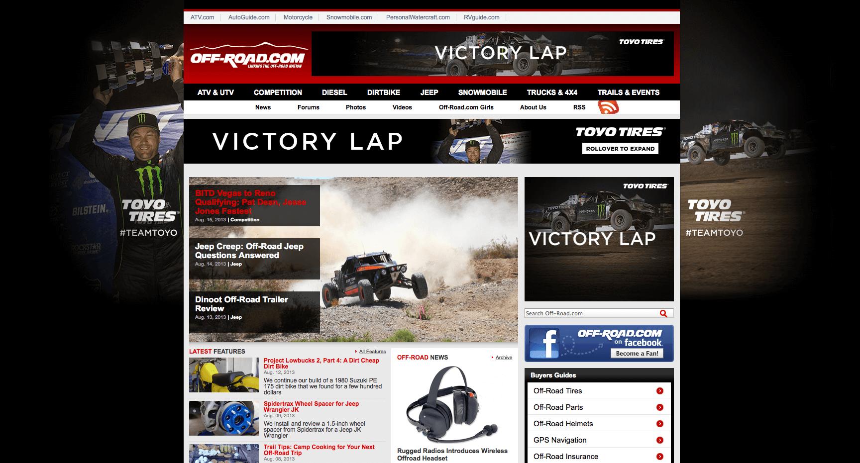 Toyo Tires baja rally digital ad ensemble