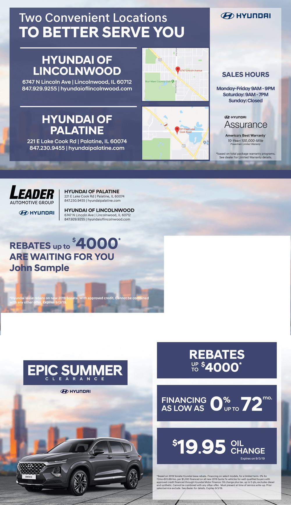 Leader Automotive sales event direct mail layout