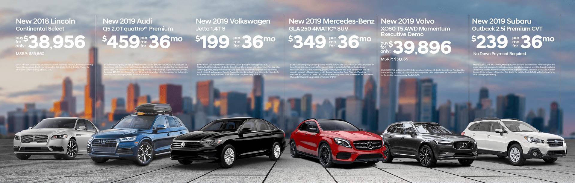 Leader Automotive sales event vehicle lineup