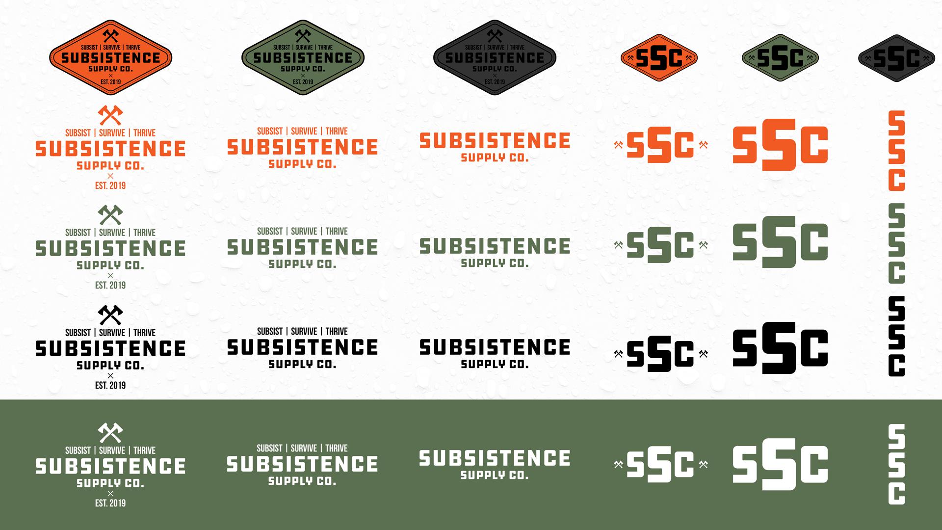Subsistence Supply Company logo variations