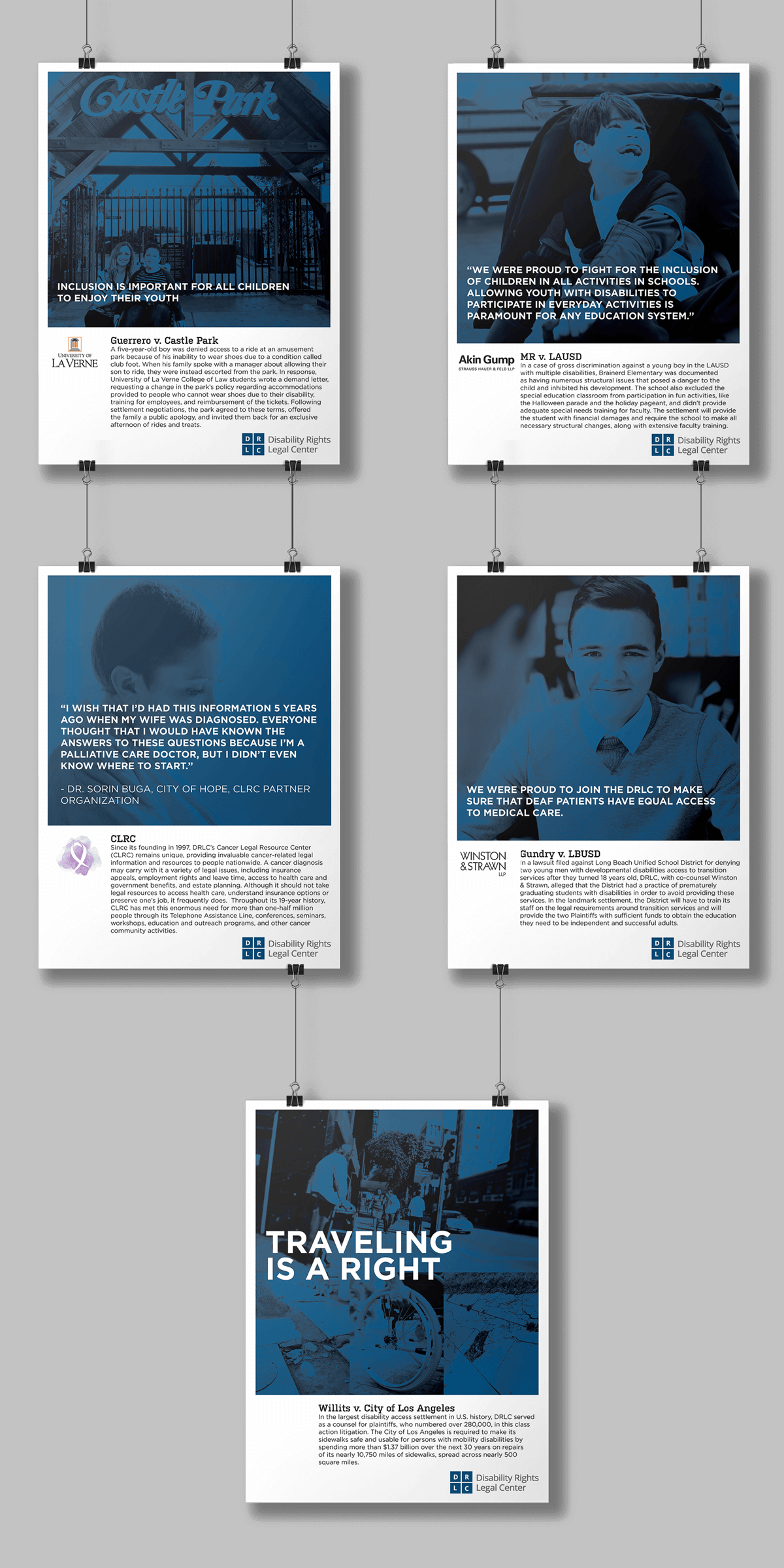 disability rights legal center mockup displaying a variety of event posters