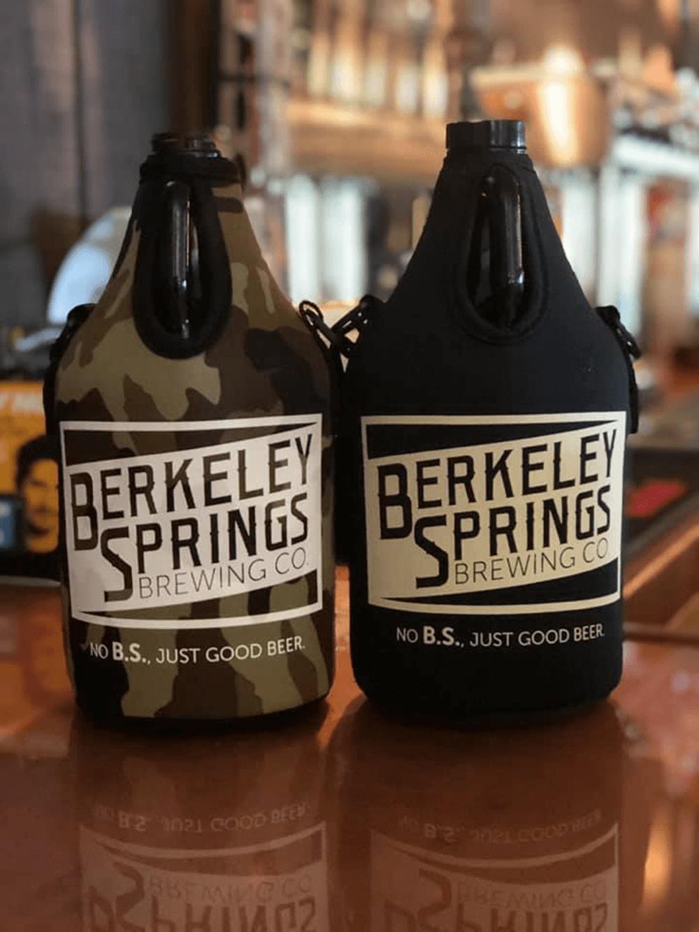 berkeley springs brewing company logo on growlers