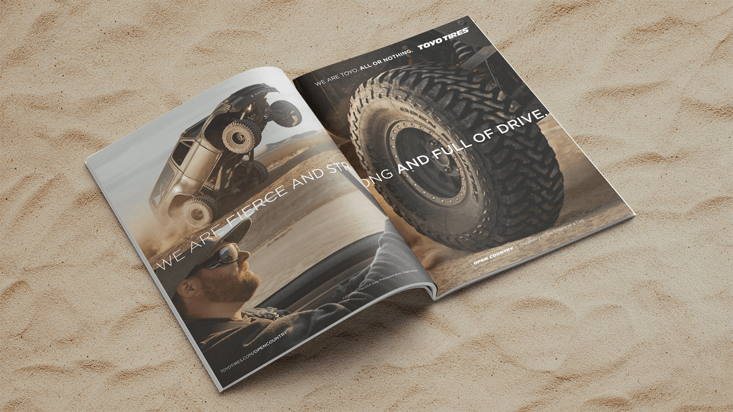 Magazine ad spread featuring Toyo Tires on a baja truck