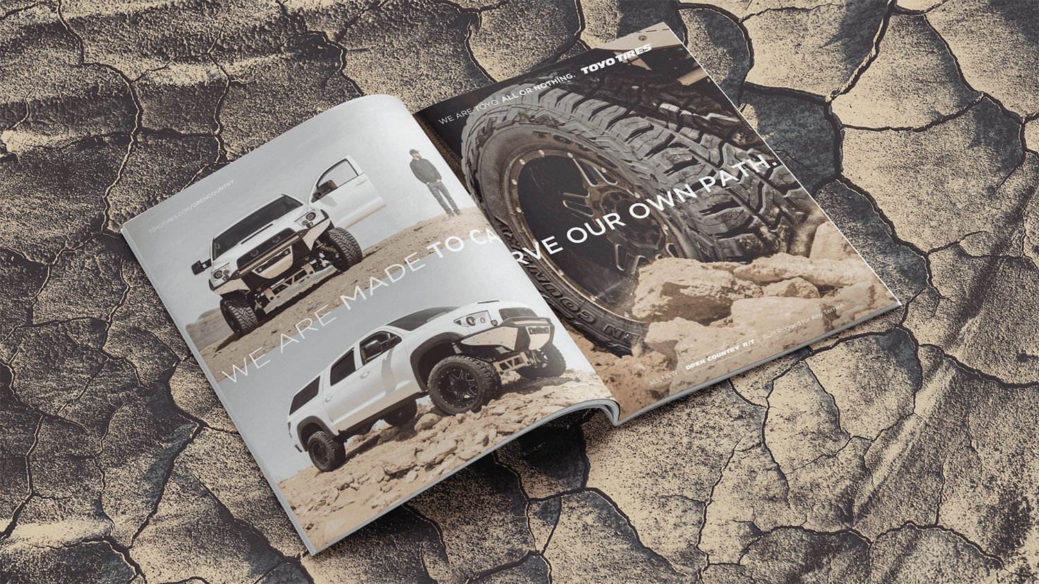 Magazine ad spread featuring Toyo Tires on overlanding truck