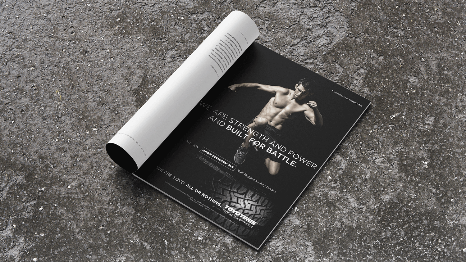 Magazine ad spread featuring Toyo Tires partnership with the UFC