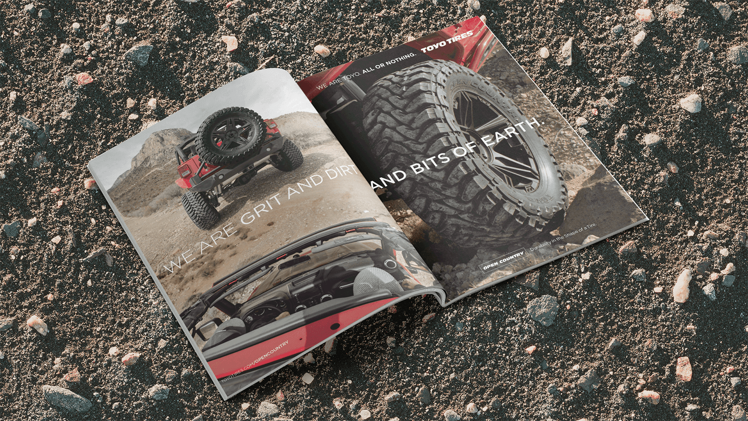 Magazine ad spread featuring Toyo Tires on a Jeep