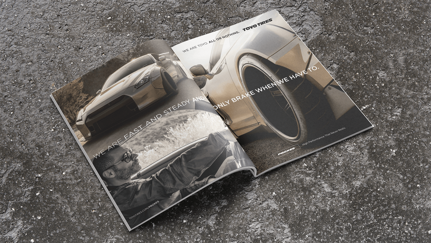 Magazine ad spread featuring Toyo Tires on a Nissan Skyline GT-R
