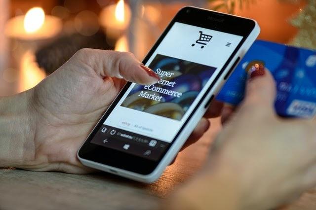 Shopper on mobile phone