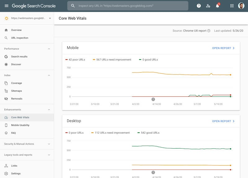 Core Web Vitals in Search Console