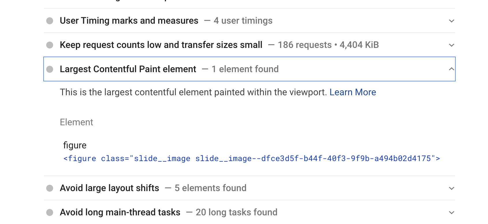 The LargestContentful Paint element found by PageSpeed Insights