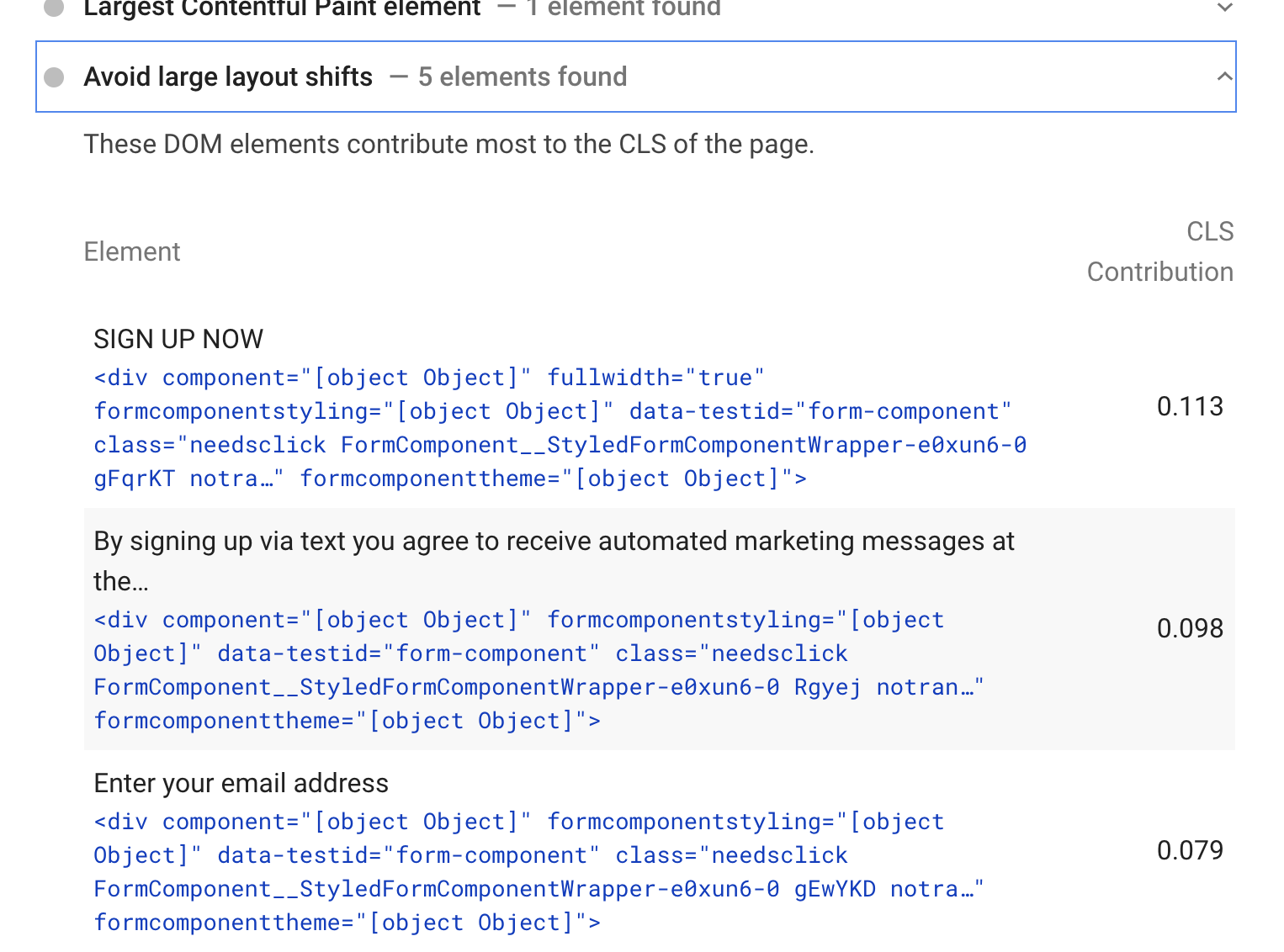 Issues causing high Cumulative Layout Shift found by PageSpeed Insights