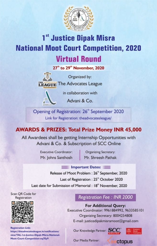 1st Justice Dipak Misra National Moot Court Competition