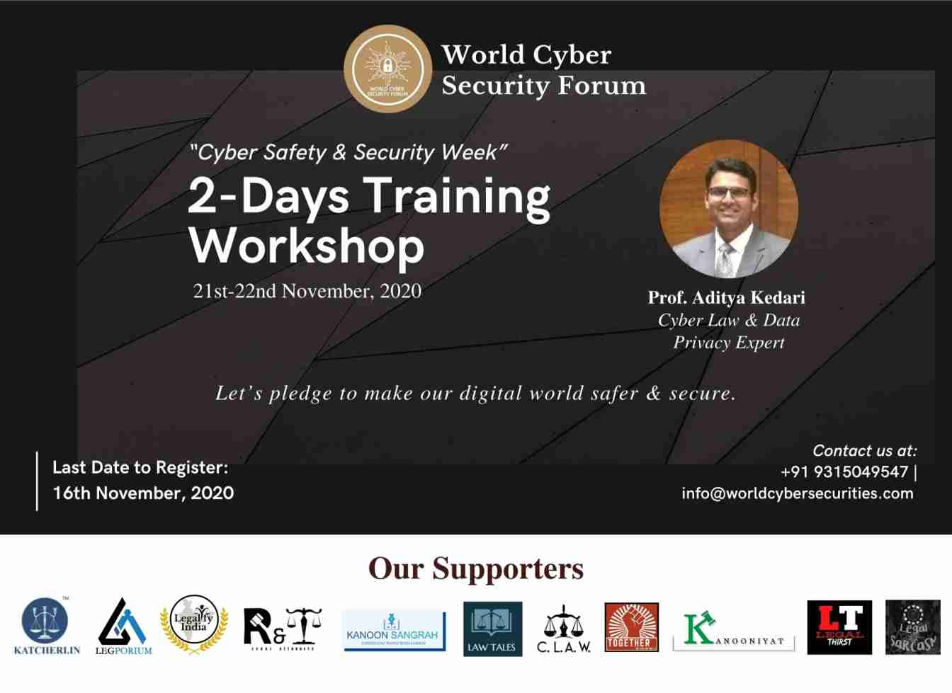 """World Cyber Security Forum (WCSF)'s Two Days Training Workshop on """"Cyber Safety & Security Week"""""""
