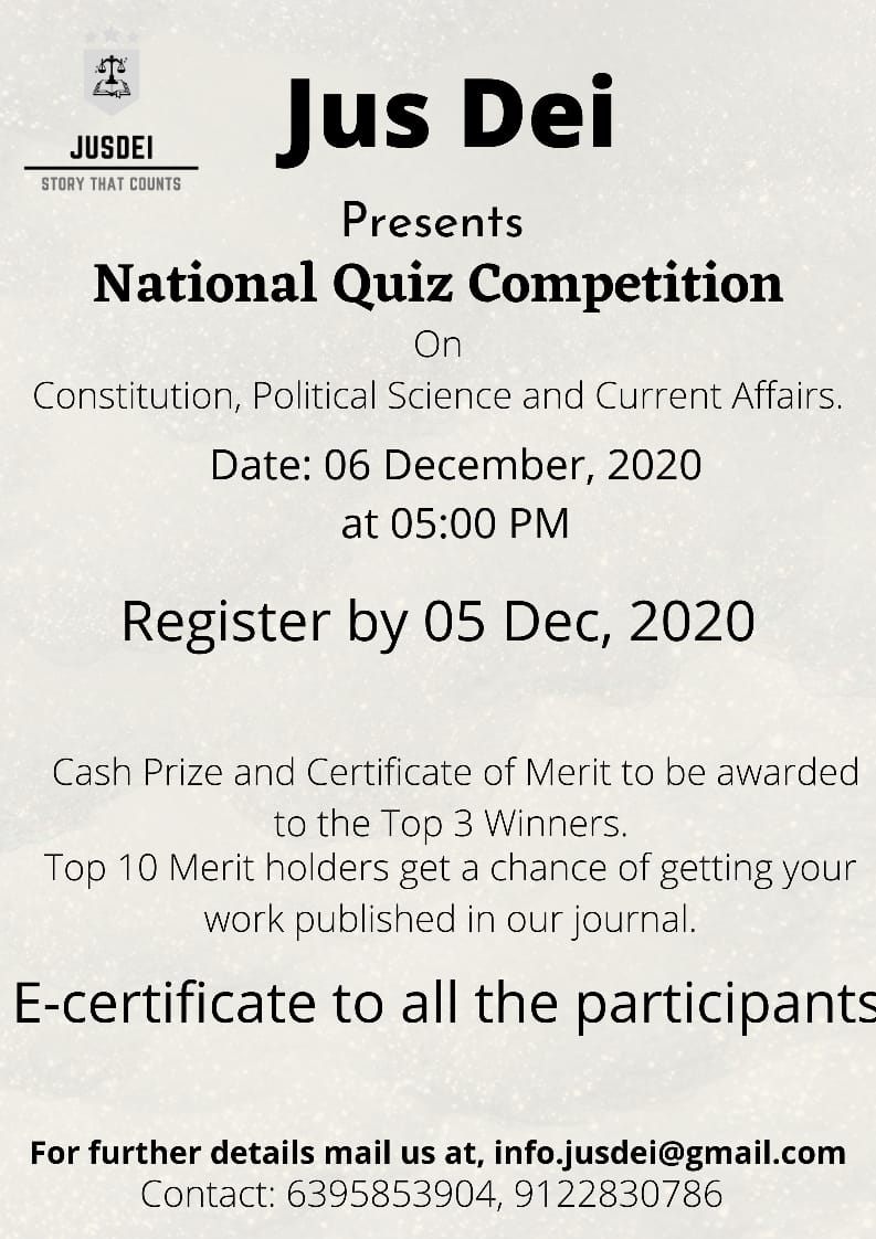 NATIONAL LAW QUIZ COMPETITION, 2020