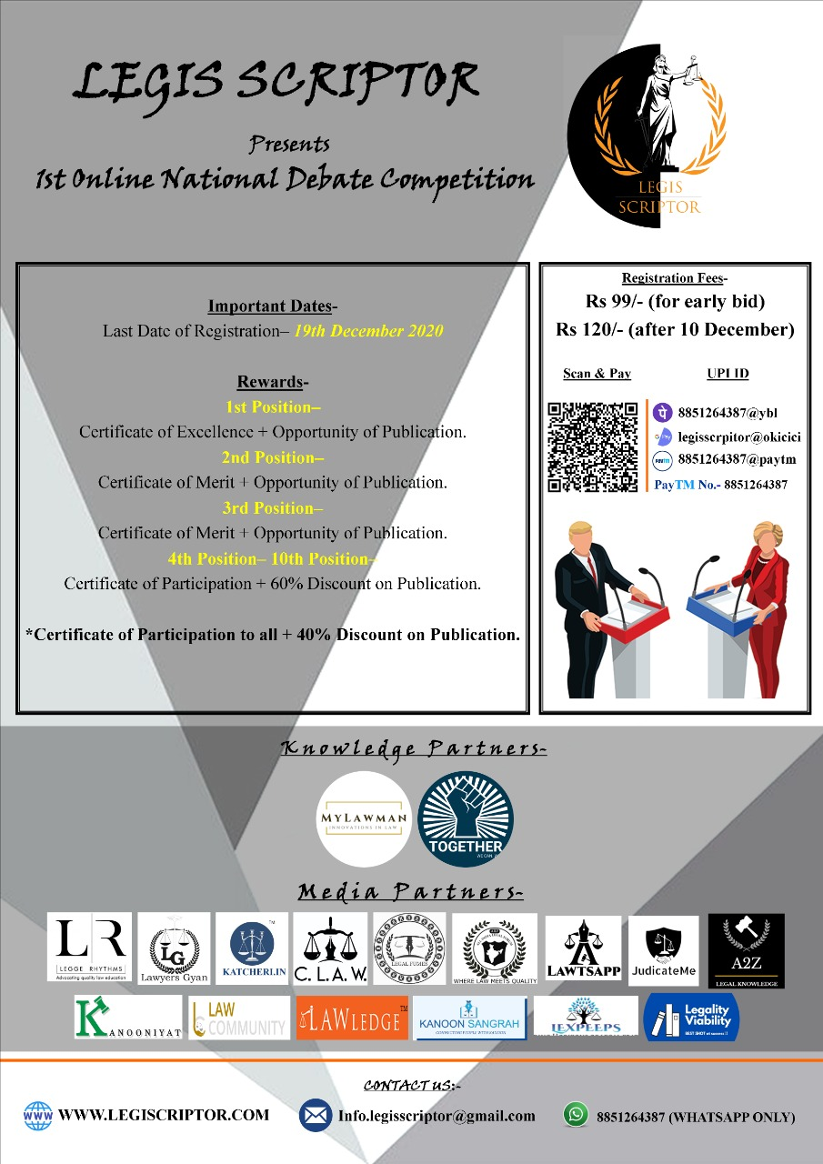 1st NATIONAL ONLINE DEBATE COMPETITION