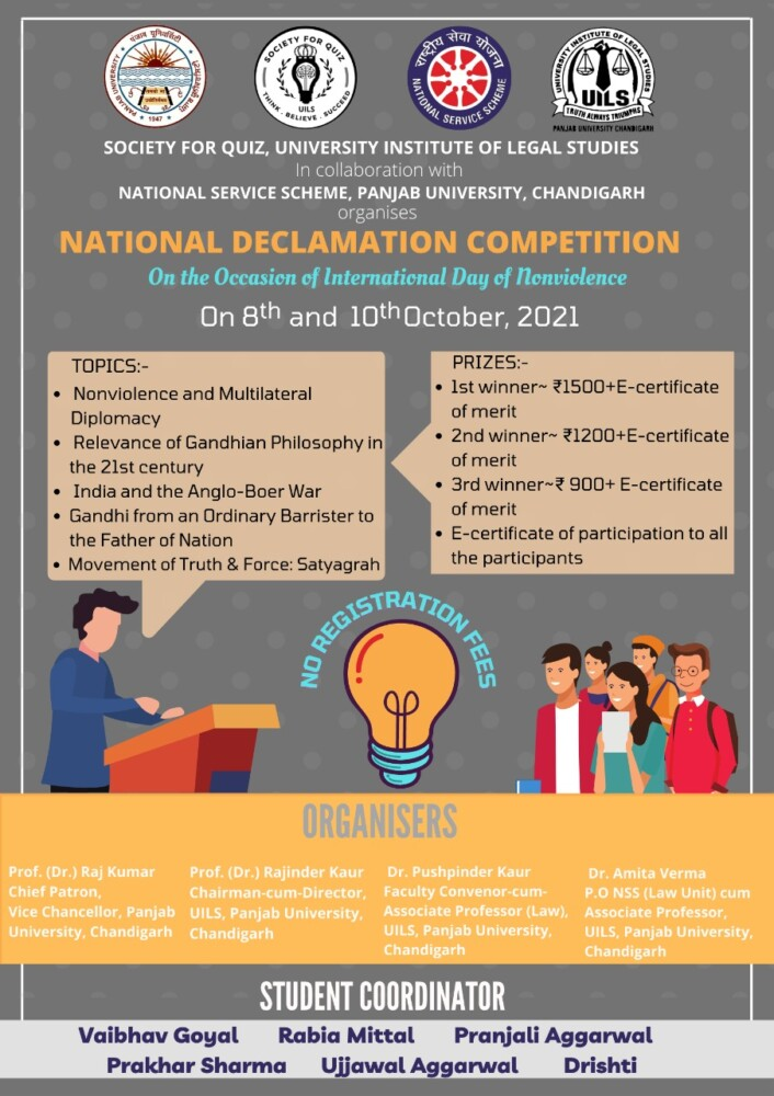National Online Declamation Competition on International Day of Nonviolence, by UILS, Panjab University
