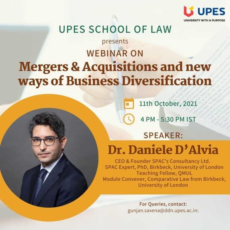 UPES' Webinar on Mergers and Acquisitions and New Ways of Business Diversification