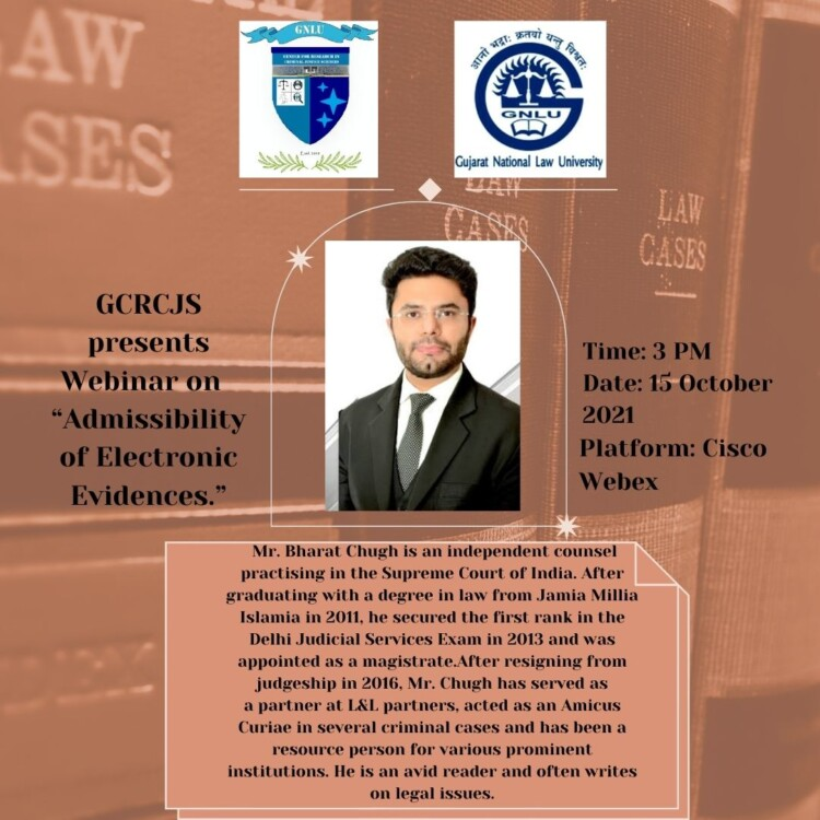 Webinar on Admissibility of Electronic Evidence, by GNLU Centre for Research in Criminal Justice Sciences