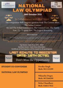 NATIONAL LAW OLYMPIAD BY GIBS, DELHI