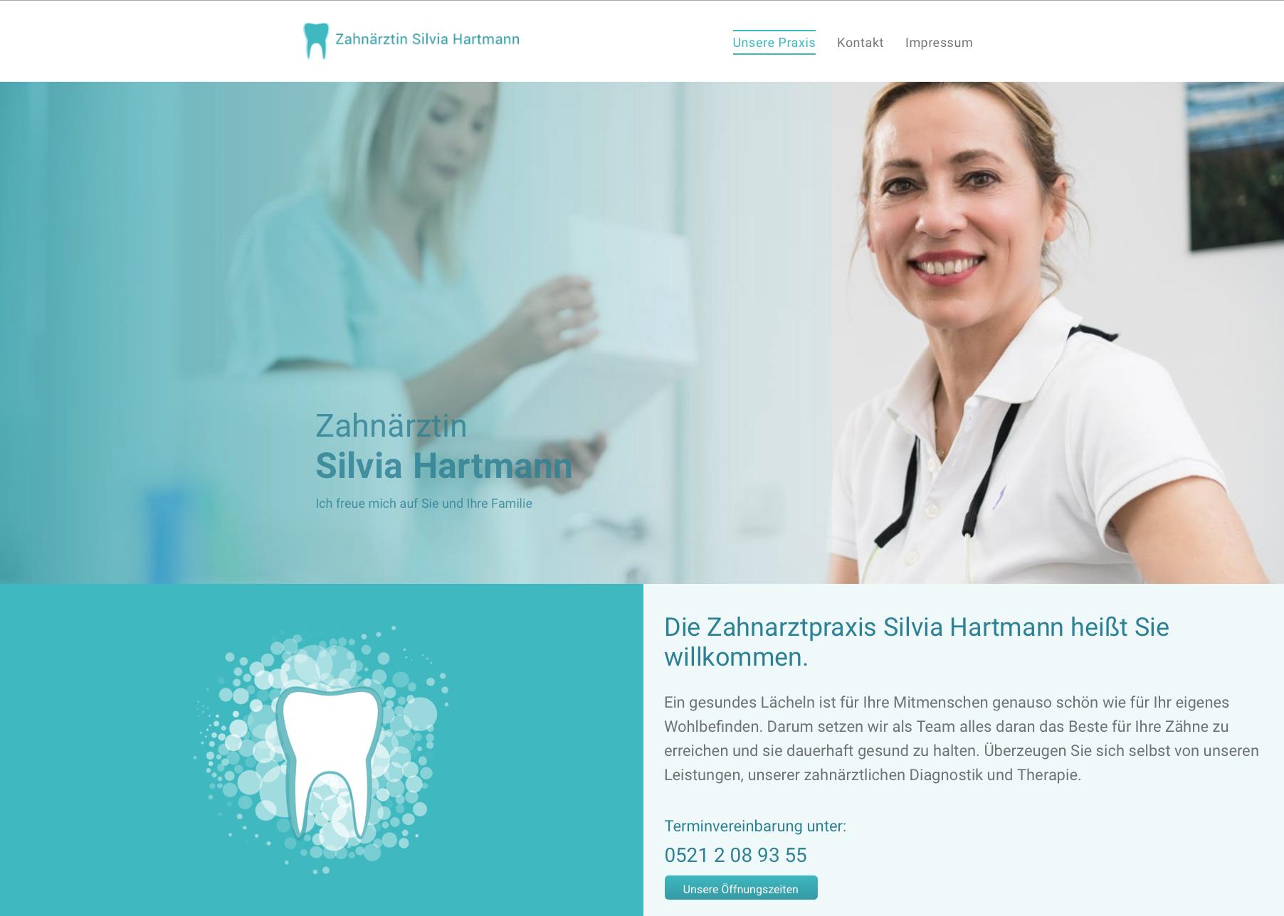 Startseite des Webauftritts Zahnarztpraxis Silvia Hartmann in Bielefeld