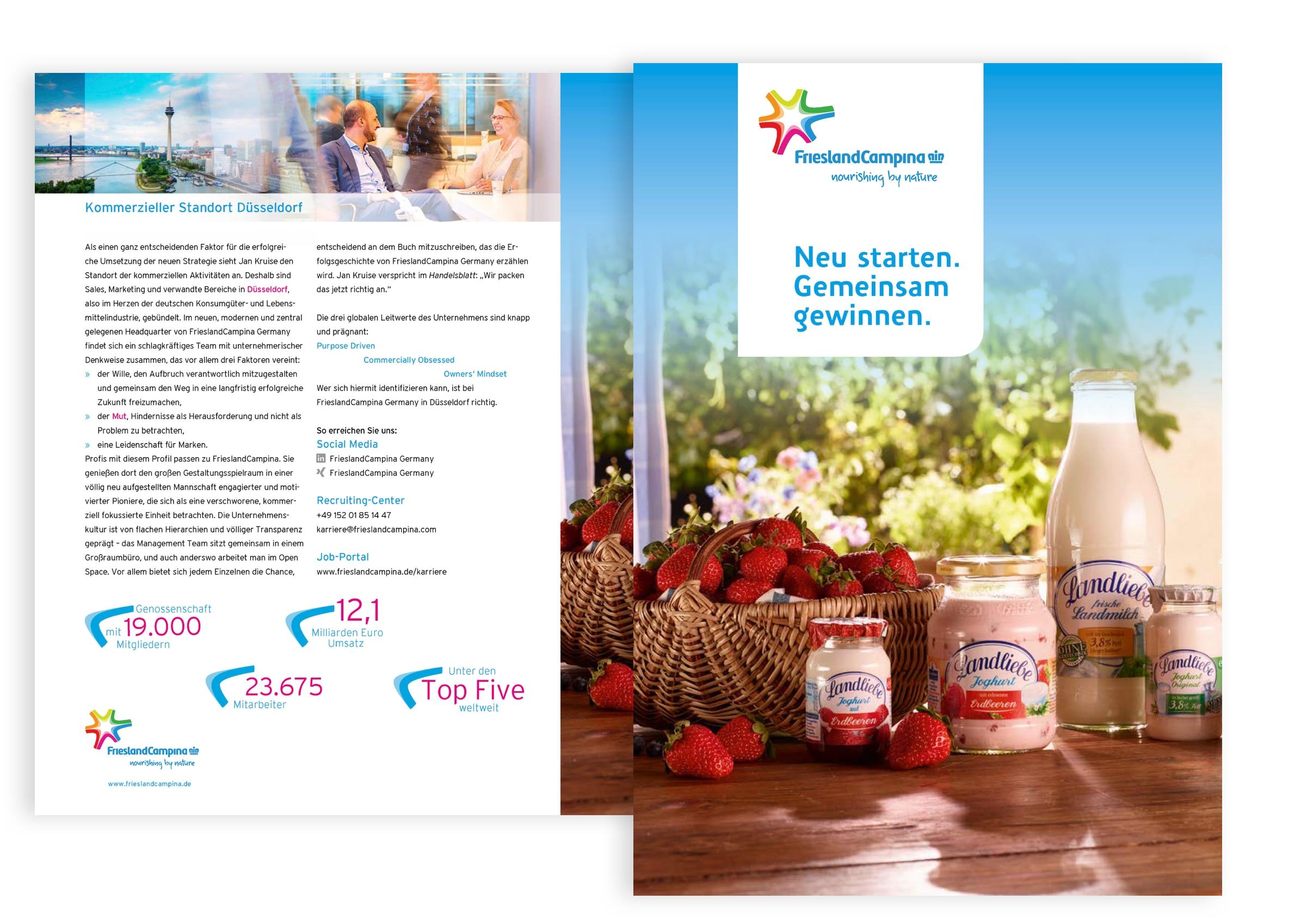 Montage des Titels und der Innenansicht des Flyers von FrieslandCampina Deutschland
