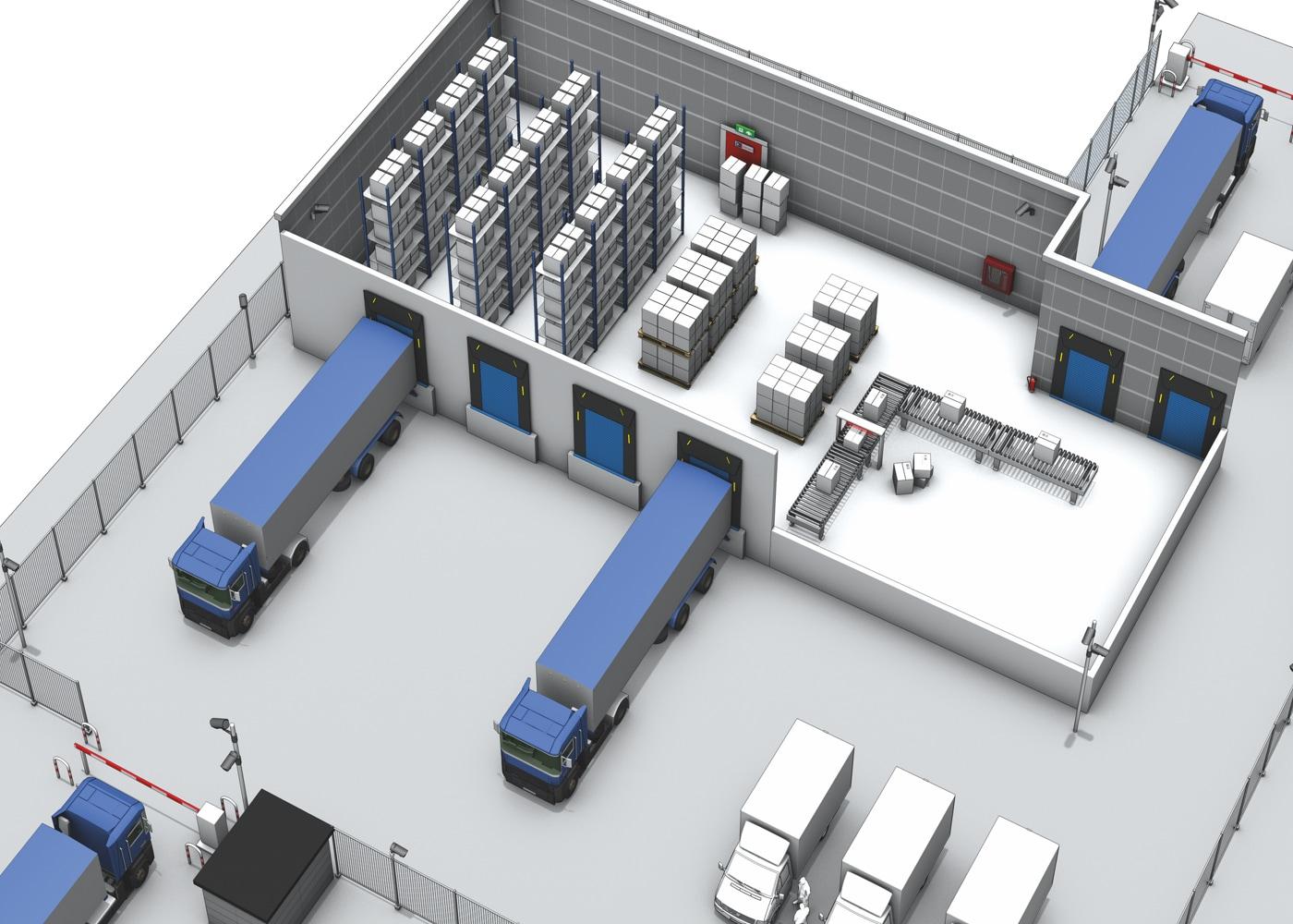 3D Ansicht eines Fuhrparks mit LKWs